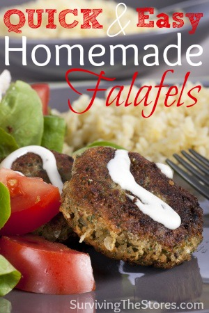 This is a super easy Falafels Recipe that you can make in minutes! It's one of the few that I have memorized so I can make it when I haven't planned anything for dinner that day.