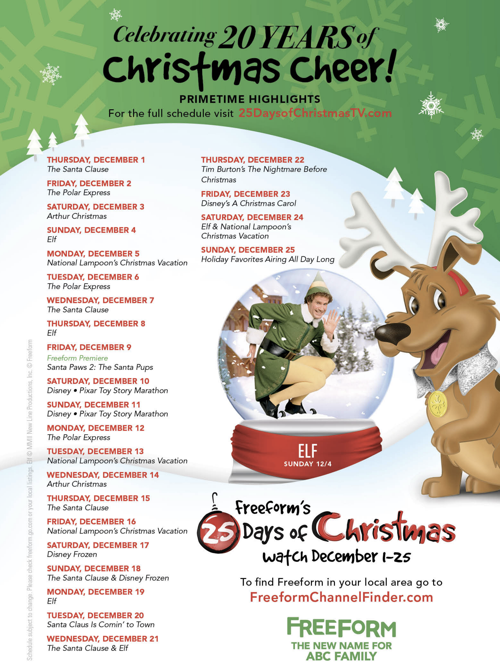 abc days christmas freeform movies schedule tv december nights channel dec santa years above larger without children